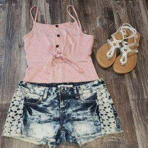 ☆ Vanilla Star ☆ Junior's Denim Lace Shorts Sz 11
